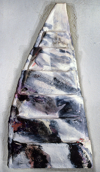 "in medias res 1. <br /> Oil on formed linen, 12.5"" x 4.5"" x 22.5"", 1985."