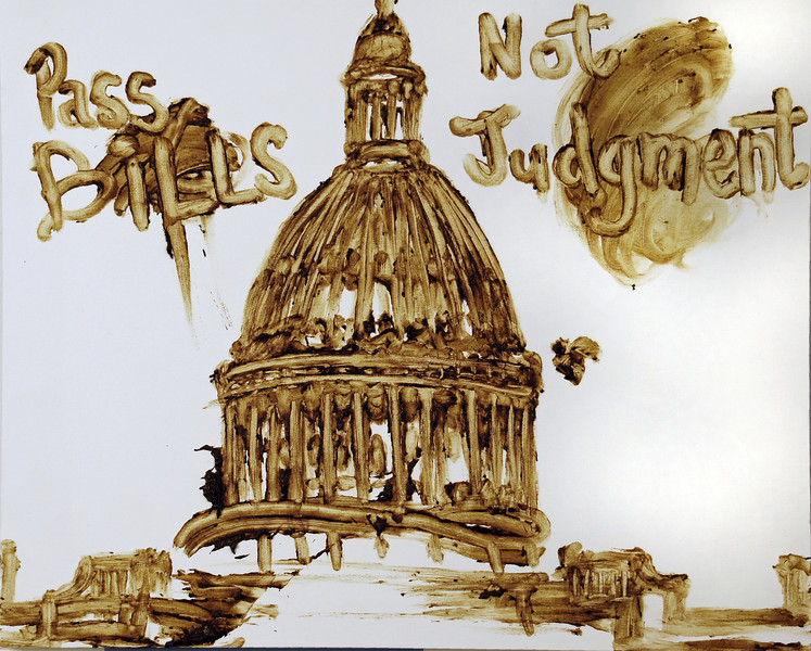 "Political Shit! Feces on canvas, 30"" x 24"", 1990."