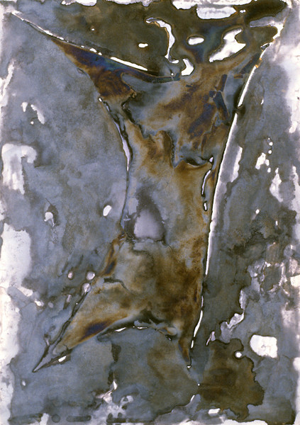 "Membrane Attenuation ∈ωᵗ. <br /> Electro-chemicals on canvas, 12"" x 16"", 1997."