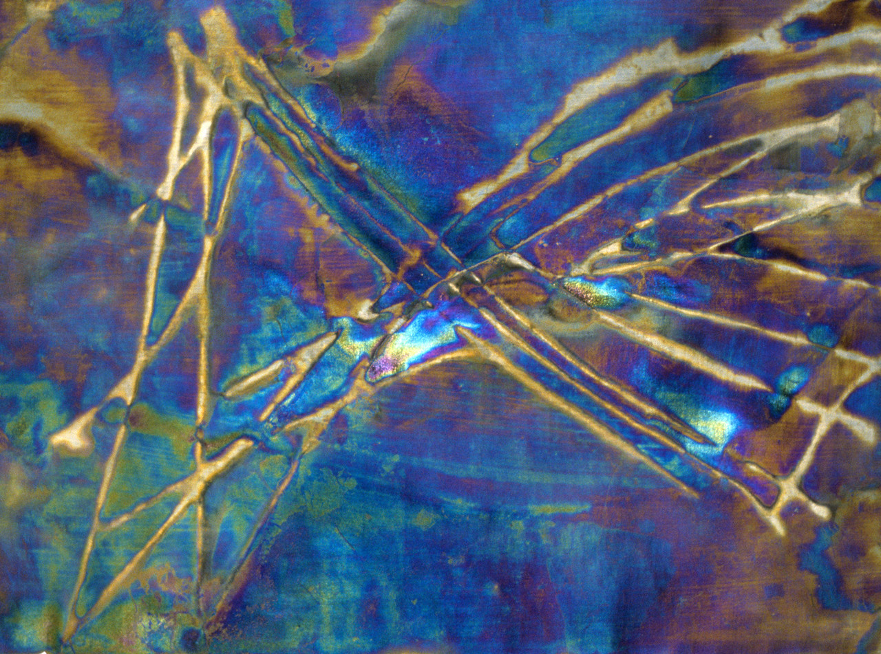 "fMRI: Synapse; Reverse Potential ¬α∇ .00034 ≠ [Ѵm-Σion~°]. <br /> Electro-chemicals on canvas, 14"" x 17"", 1997."