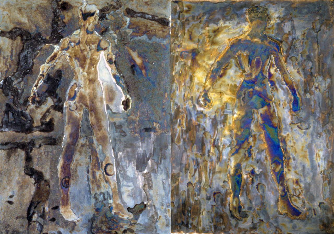 "fMRI: Cerebellum Homunculus (subject while reading pseudo-intellectual script about homunculi).<br />  Electro-chemicals on canvas, Diptych 24"" x 14"", 1997."