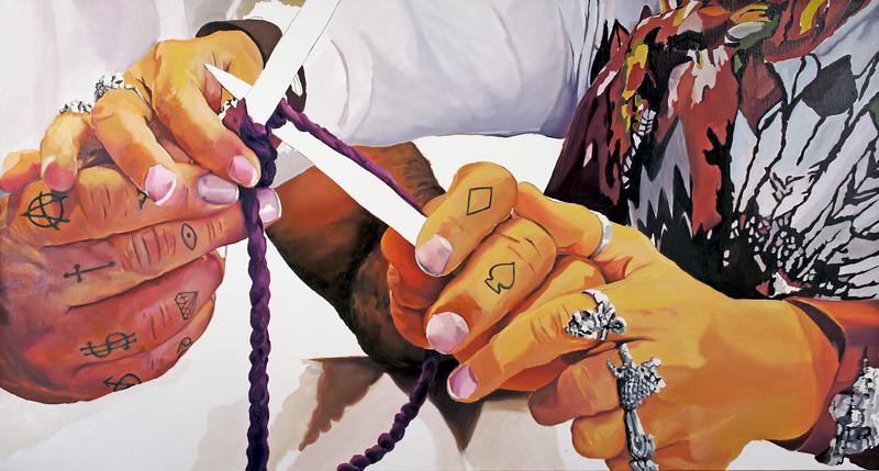 "Needling. Oil paint on linen, 36"" x 68,"" 2014."