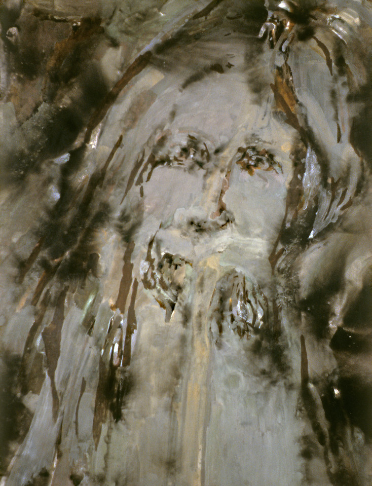 """Supercontext 7. <br /> Fire (via carbonization) and powdered metals (via oxidation) on canvas, 88"""" x 66"""", 1995."""