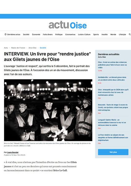 Actu.fr, Novembre 2019. https://actu.fr/hauts-de-france/_60/interview-livre-rendre-justice-gilets-jaunes-loise_29441756.html