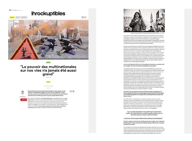 Les Inrockuptibles, septembre 2018. https://www.lesinrocks.com/2018/09/27/idees/societe/le-pouvoir-des-multinationales-sur-nos-vies-na-jamais-ete-aussi-grand/