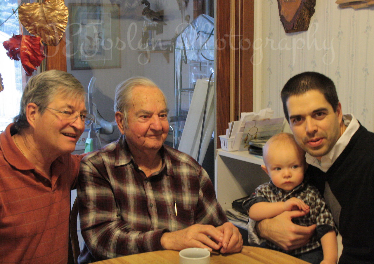 Four Generations, Great GrandPa Allen, Grandpa GK, Dad AK, and little one Graham.   Thanksgiving Day, 11-2012.