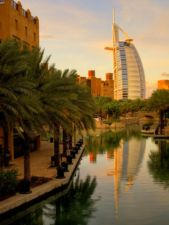Madinat Jumeirah with The Burj Al Arab hotel at the top right.