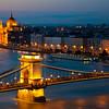 Hungarian Parliament & the Chain Bridge across Danube, Budapest, Hungary