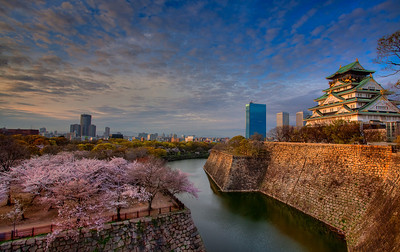 大板城日落 Sunset at Osaka Castle