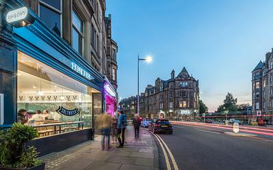 Interior and exterior architectural photography of Saltwater fish amd chop shop in Brunstfield, Edinburgh