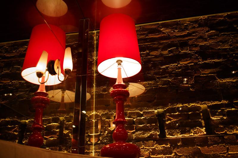 Lamp reflection.
