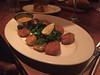 Potato-Crusted East Coast Sea Scallops w/fresh spinach, chipotle-butter sauce and au gratin potatoes.