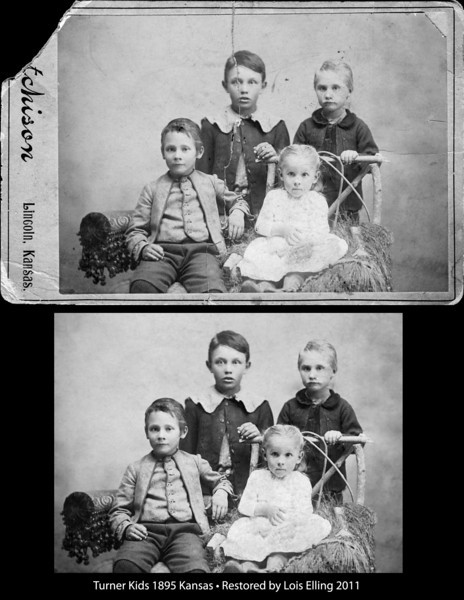 Digital restoration done by Lois Elling, 2011. Original photo was taken in Kansas in 1895.
