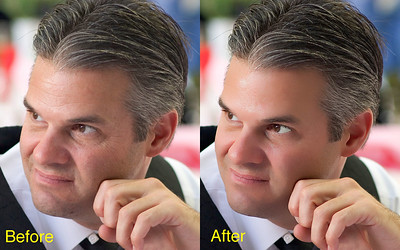 Click image to see details. This is just an example. I can take a persons age back significantly, reduce or remove blemishes, scars, age spots, wrinkles etc. I did not re-color this man's hair but can do that too to really take his age down.