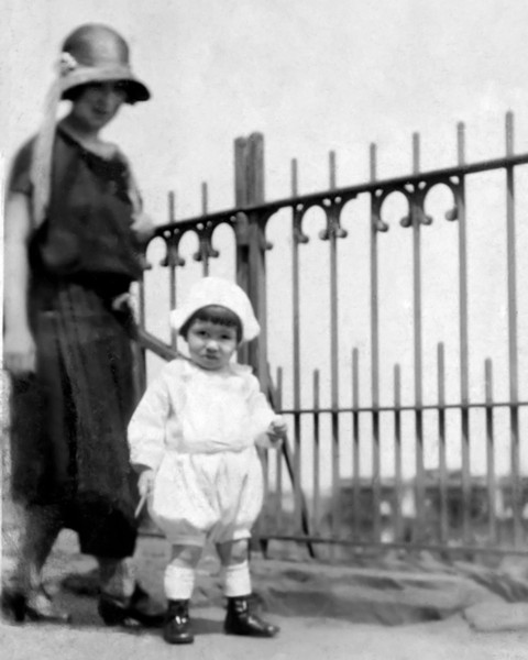 8 X 10 Version with b&w- 1923 Eddie's Dad with his Mother