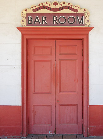 San Juan Bautista Plaza Hotel Bar Room Door (C1, m4/3 Olympus 17mm lens)