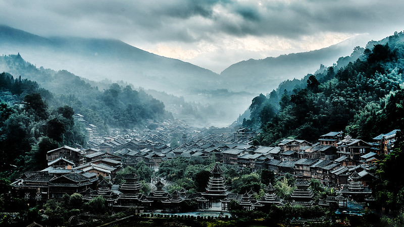 Sunrise Over an Old Dong Village - Susan Moss