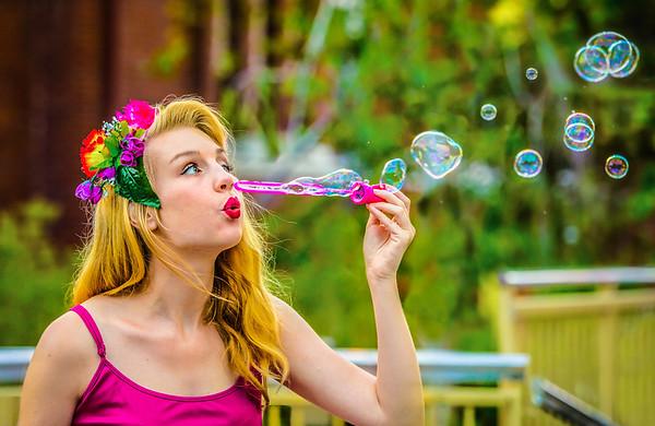 Blonde Babe Blowing Bubbles - Lemuel Tan