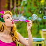 Blonde Babe Blowing Bubbles - Lemuel Tan