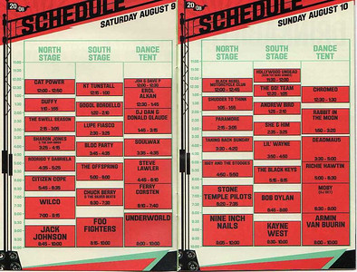 Worked as an A2 on the Sheffield Remote Recording Truck on the North Stage. This was for the Virgin Mobile Festival at Pimilico with artists: Stone Temple Pilots, Iggy & The Stooges, Jack Johnson, Paramore, Wilco, Citizen Cope, Taking Back Sunday, Shudder To Think, & Black Rebel Motocycle Club
