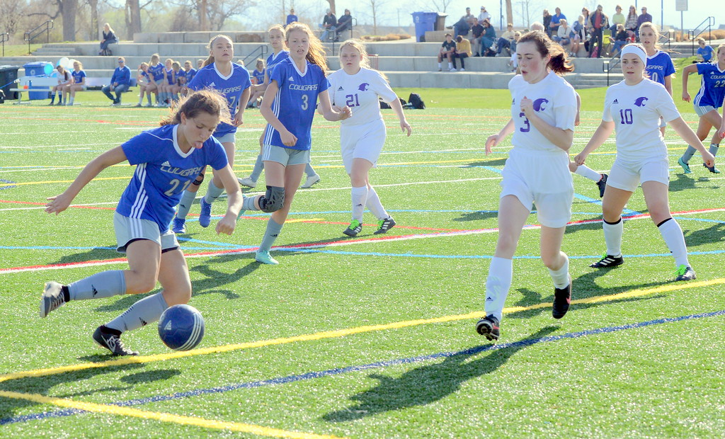 . Resurrection Christian\'s Ellie Potkonjak lets loose a shot for her third goal of Thursday\'s game against Estes Park, the final touch on a 10-0 Patriot League victory at Loveland Sports Park. (Mike Brohard/Loveland Reporter-Herald)