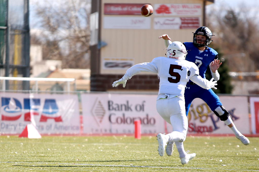 . Resurrection Christian�s (7) Buck Coors throws the ball during their game against Alamosa at Windsor High School on Nov. 3, 2018 in Windsor, Colo. Photo by Taelyn Livingston/ Loveland Reporter-Herald