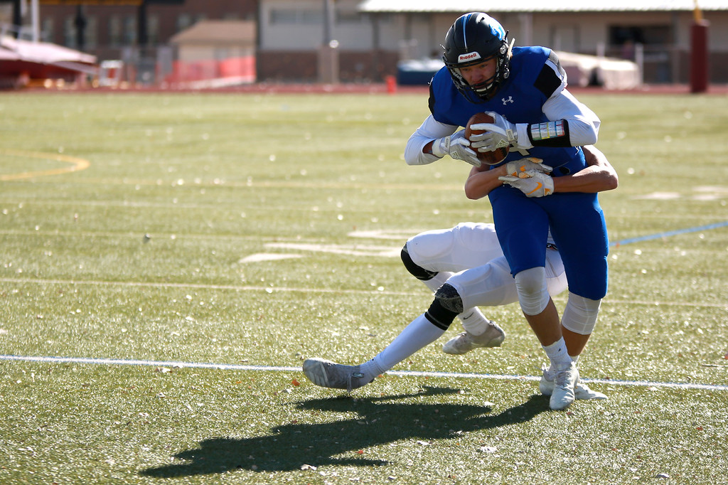 . Resurrection Christian�s (4) Zane Zuhlke runs with the ball during their game against Alamosa at Windsor High School on Nov. 3, 2018 in Windsor, Colo. Photo by Taelyn Livingston/ Loveland Reporter-Herald