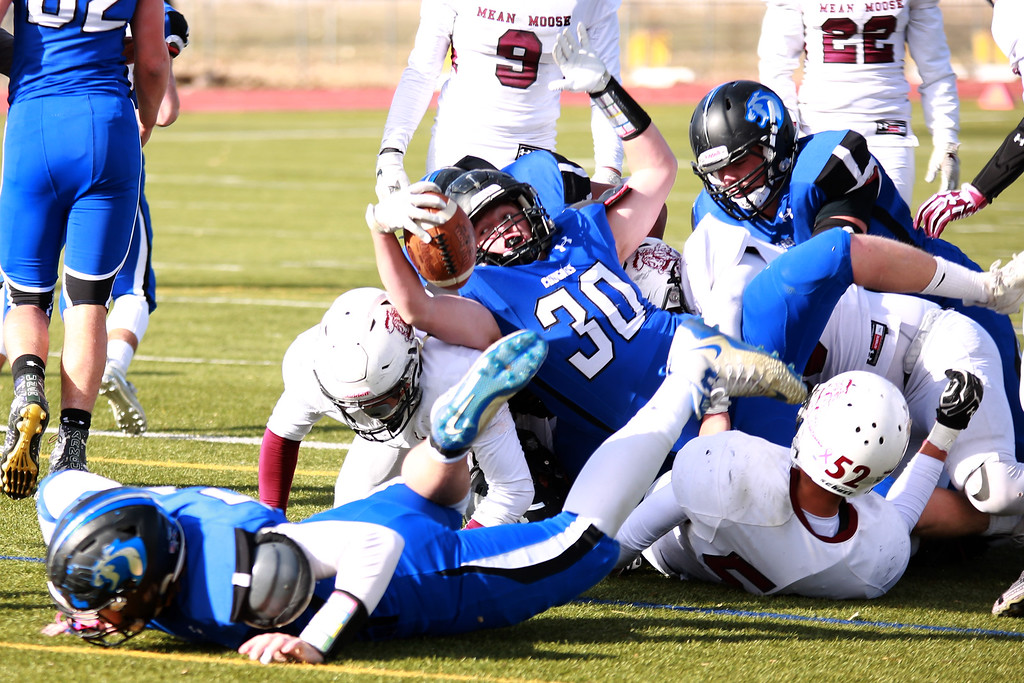 . Resurrection Christian�s (30) Kyle Lueck dives for the touchdown during their game against Alamosa at Windsor High School on Nov. 3, 2018 in Windsor, Colo. Photo by Taelyn Livingston/ Loveland Reporter-Herald