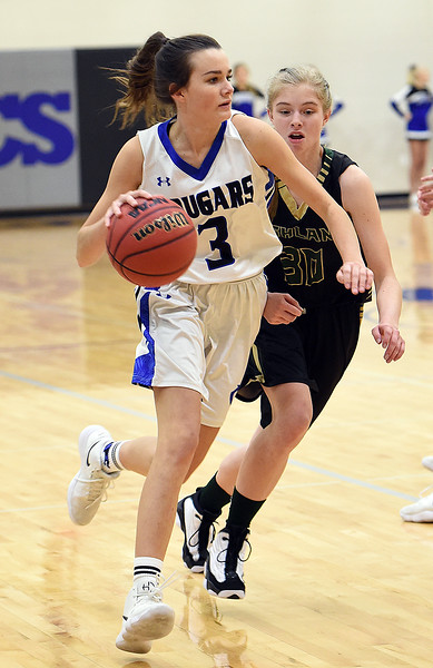 Resurrection Christian's Gracie Stults takes the ball down court with Highland's Sidney Brown during their game Tuesday, Dec. 18, 2018, at Resurrection Christian School in Loveland.  (Photo by Jenny Sparks/Loveland Reporter-Herald)