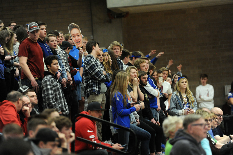Resurrection Christian students cheer on the Cougars during their Great 8 game against Manual at Magness Arena on Thursday, March 7. (Colin Barnard/Loveland Reporter-Herald)