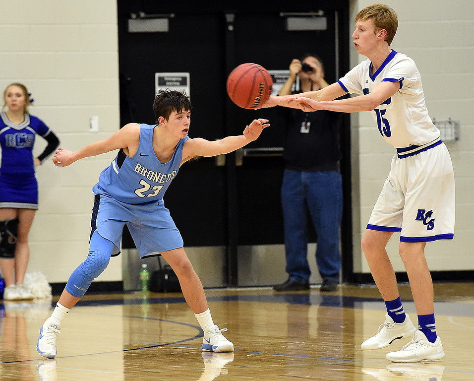 Resurrection Christian's (15) Derek McCormick passes the ball during their game against Platte Valley Tuesday, Jan. 16, 2018, at Resurrection Christian School in Loveland.  (Photo by Thieng Mai/Loveland Reporter-Herald)