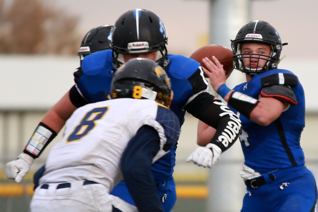 . Resurrection Christian�s (4) Zane Zuhlke looks for an opening during their game against Rifle in the 2A state playoffs at Windsor High School on Saturday, Nov. 10, 2018 in Windsor, Colo.