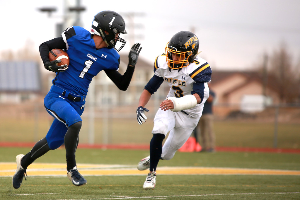 . Resurrection Christian�s (1) Kyle Lueck defends the ball from Rifle�s (3) Kenny Tlaxcala in the 2A state playoffs at Windsor High School on Saturday, Nov. 10, 2018 in Windsor, Colo.