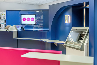 Interior architectural photography of OneBanks kiosk in Coop Denny