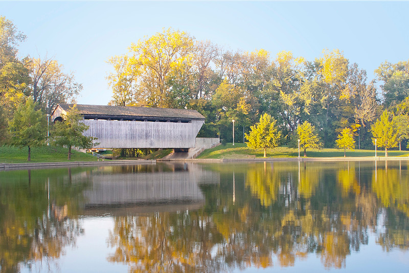 Mill Race Bridge in Fall