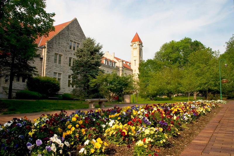 Clocktower with Spring Flowers