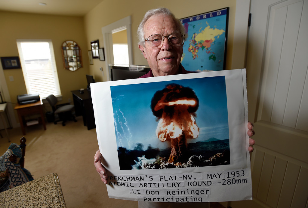 . BEST 1. Retired U.S. Army Major Donald Reininger holds a photograph of a nuclear test he was part of as a Second Lieutenant while being interviewed at his home in Louisville on Wednesday. For more photos of Reininger go to dailycamera.com Jeremy Papasso/ Staff Photographer 11/01/2017