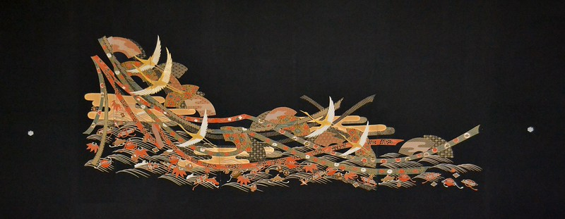 Artist - Rachael Binnie      Title - Celebration     Dimensions - 90cm x 226cm     Media - Kuro Tomesode Silk Kimono stretched on wooden frame    Edition - 1/1      Status - Available     Exhibition - ANA Intercontinental Hotel, Tokyo January 8 - March 4, 2014          Inquiry