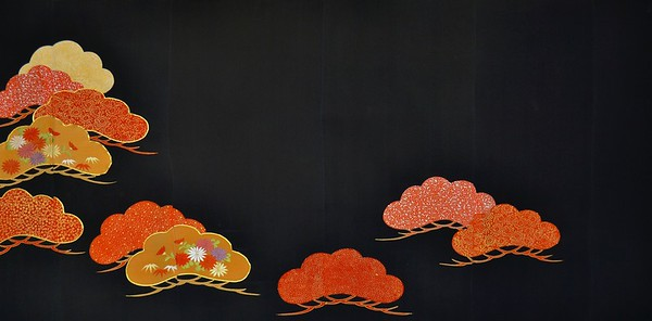 Artist - Rachael Binnie      Title - Flame Trees     Dimensions - 70cm x 140cm     Media - Kuro Tomesode Silk Kimono stretched on wooden frame    Edition - 1/1      Status - Available     Exhibition - ANA Intercontinental Hotel, Tokyo January 8 - March 4, 2014         Inquiry