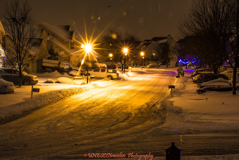 Long exposure shot of the street lights last night after the storm, shot at 30 seconds exposure.