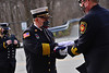 Members of the Brattleboro Fire Department held a ceremony for retiring fire chief Mike Bucossi on Monday, March 29, 2021.