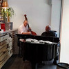 Duo of Joseph Ganter (piano) and Didier Vaudron (contrabasse) playing during dinner at Le Potager.