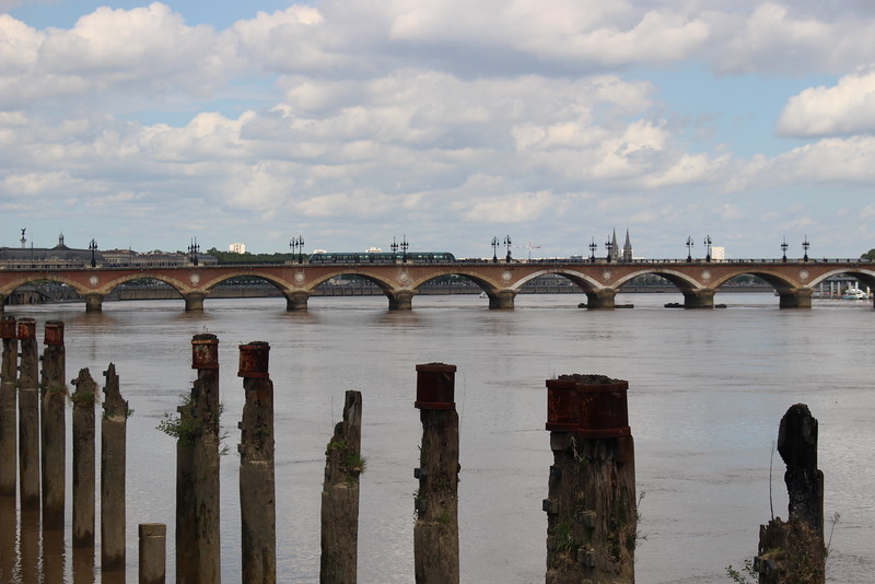 The oldest bridge in Bordeaux - the Pont de Pierre.