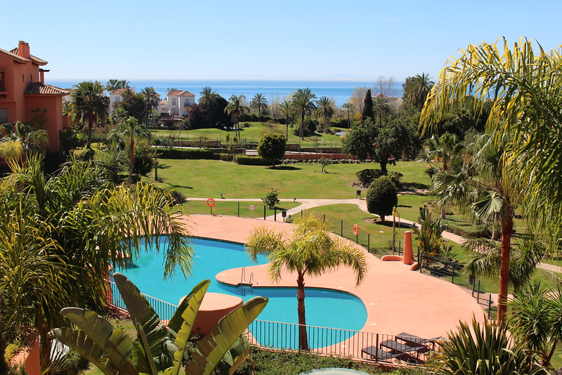 The view of the grounds, the 9-hole golf course & the Mediterranean from our balcony at the Sotoserena complex about 12 kms east of Estepona.
