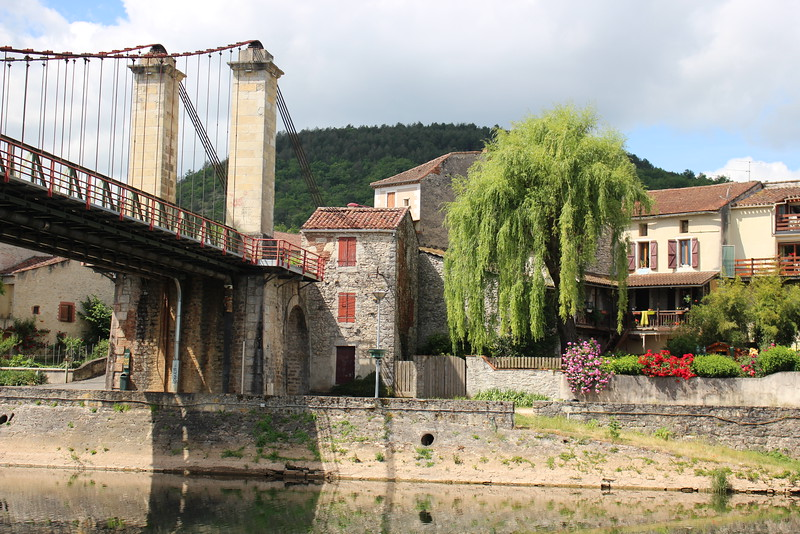 The base town for LeBoat - the end of the suspension bridge in Douelle.