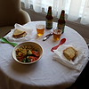 Our first exotic meal in Dublin....toasted sandwich with a combination of 'superfood' and Greek salads....a couple of Sierra Nevada ales using our Eddie Bauer cutlery and our Trudeau corkscrew.....what a party couple !!