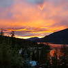 One of the amazing sunsets, across Shuswap Lake, from the deck at the house.