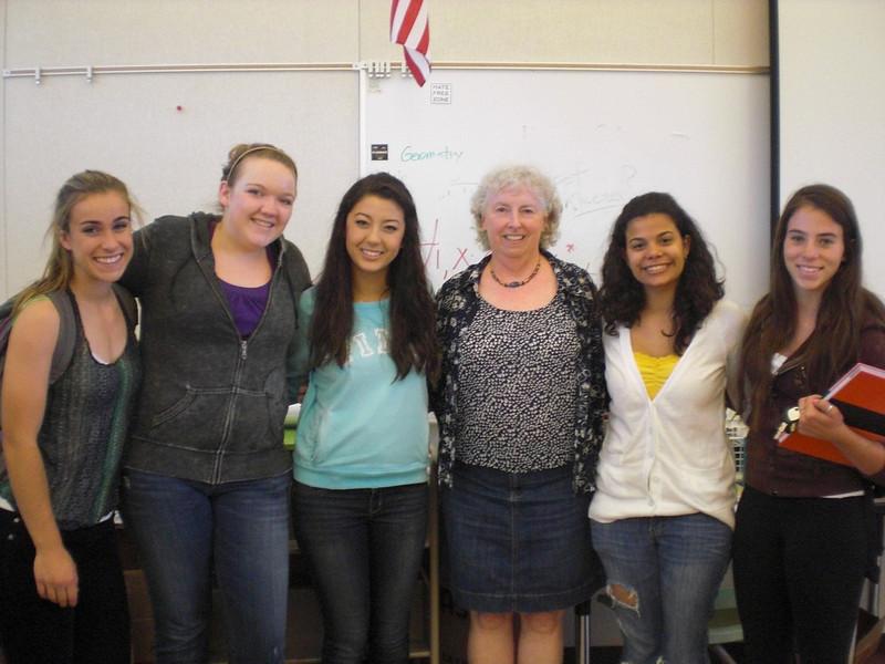 Last Day of 2nd Period Trig (All A Students!)  Erin Hazel, Kayleigh Stubblefield, Irene Ricks, Me, Leslie Matheu, Danielle Serio