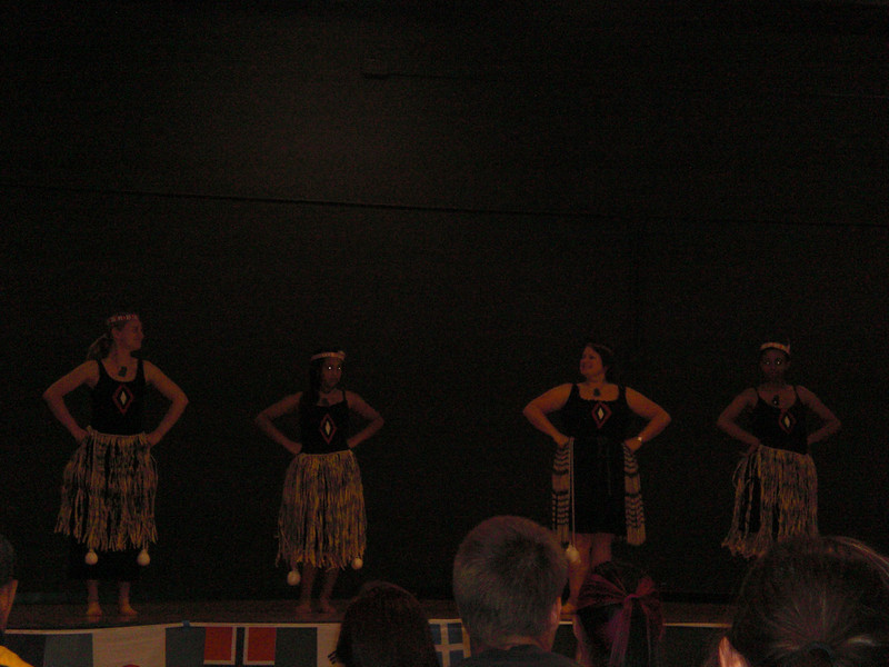 Lindsey Quinlisk, ?, Sue Brown, ?  Perform a Maori Dance at Talent Show