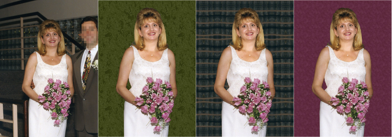 Sometimes you may have a great picture of someone dear to you, but there is one problem.  In this project I was asked to remove an ex from the original picture.  I gave three choices of background it was decided to go with the middle edited shot.  That background was made from the original picture.